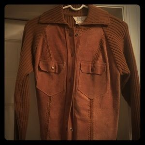 Vintage suede and sweater jacket - L